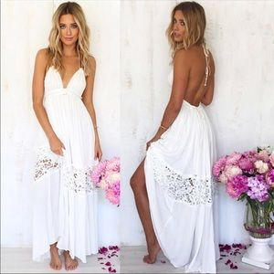 Bohemian Maxi Summer Backless V-Neck Ankle Dress